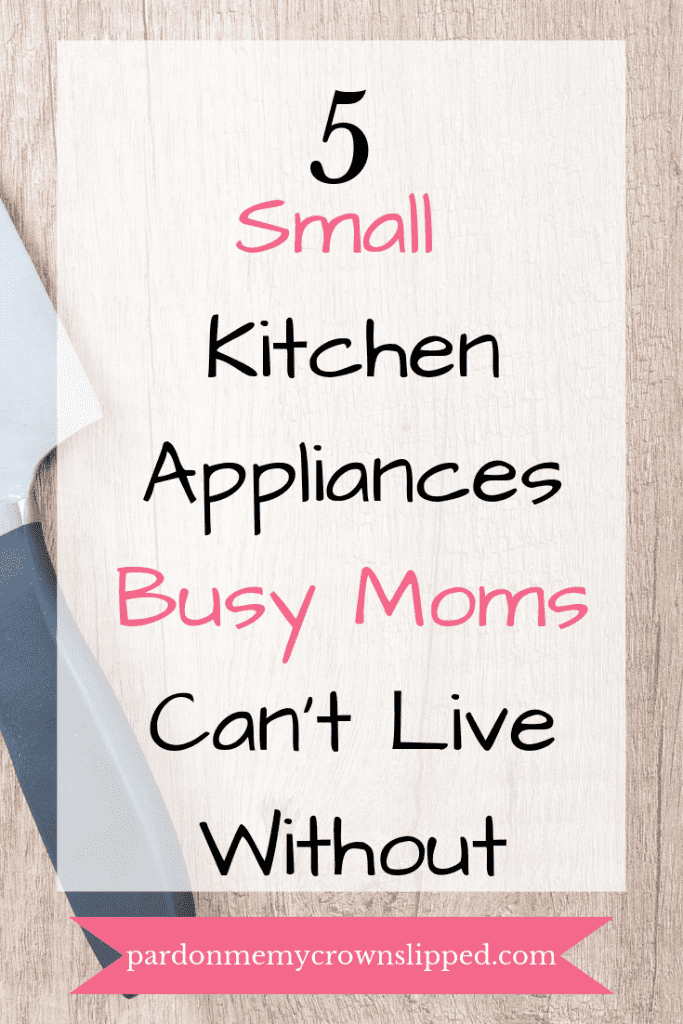 Cutting board with carving knife text overlay 5 small kitchen appliances busy moms can't live without