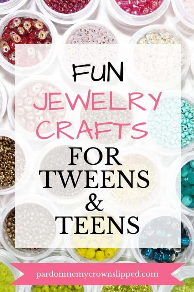bowls of different colored beads with text overlay fun jewelry crafts for tweens and teens