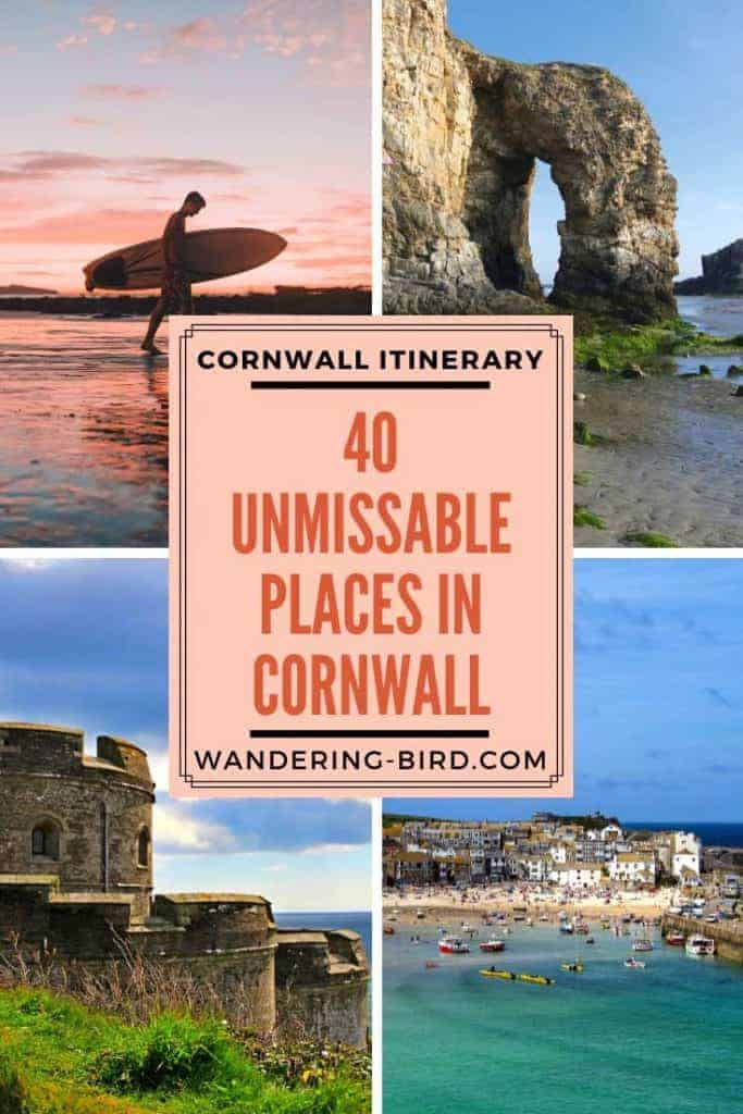Looking for the best places to see on a Cornwall Road Trip? Here are 40 UNMISSABLE places to see in Cornwall to make your road trip the best it can be! Includes a map, Cornwall itinerary guide, castles, waterfalls, beaches and beautiful places in Cornwall.