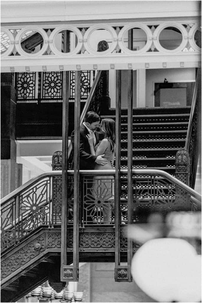 The Rookery Building Engagement Session Black and white