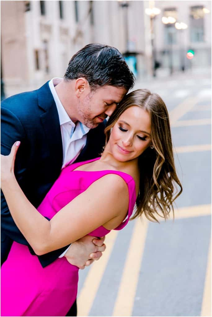 Chicago Board of trade engagement session at The Rookery Building Romantic Engagement Session