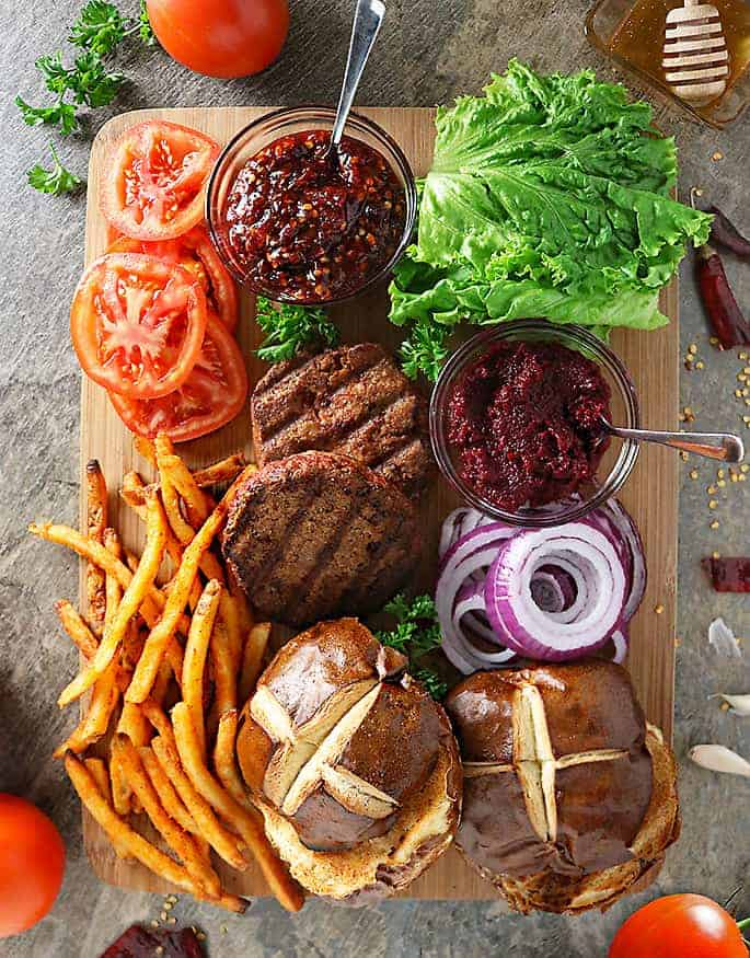 Plant Based Burgers And Fries Platter