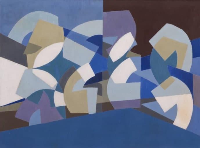 Saloua Raouda Choucair, Composition in Blue Module, 1947–51
