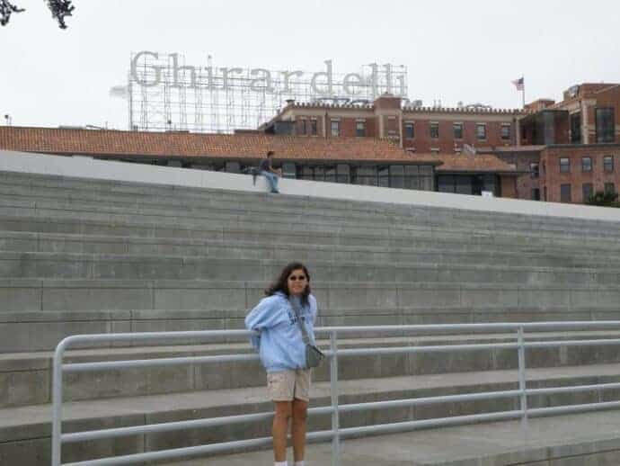 Visiting Ghirardelli square in San Francisco.