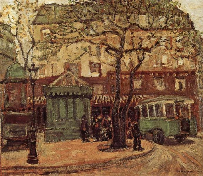 Grant Wood, Greenish Bus in Street of Paris, 1926. American Gothic