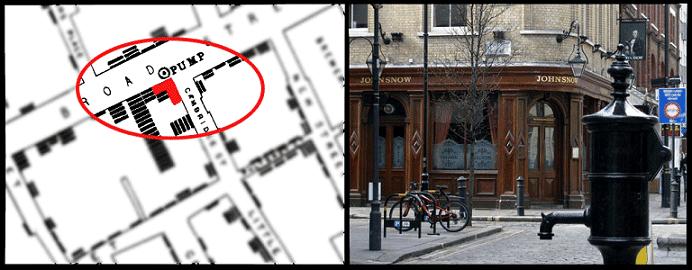 John Snow Cholera Map 1854 (Micronautes Broad Street Map/Broadwick Street Water Pump 2017)