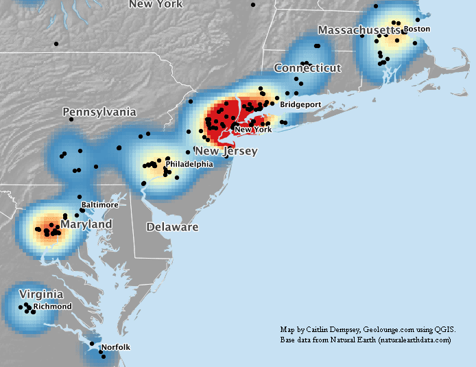 Map showing cluster of Fortune 1000 companies along the East Coast.