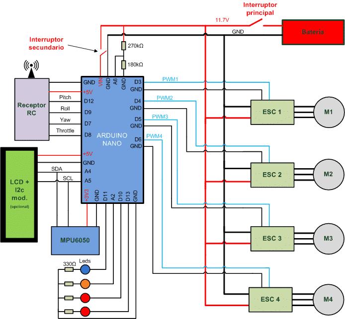 Esquema eléctrico completo detallado. Arduino drone.