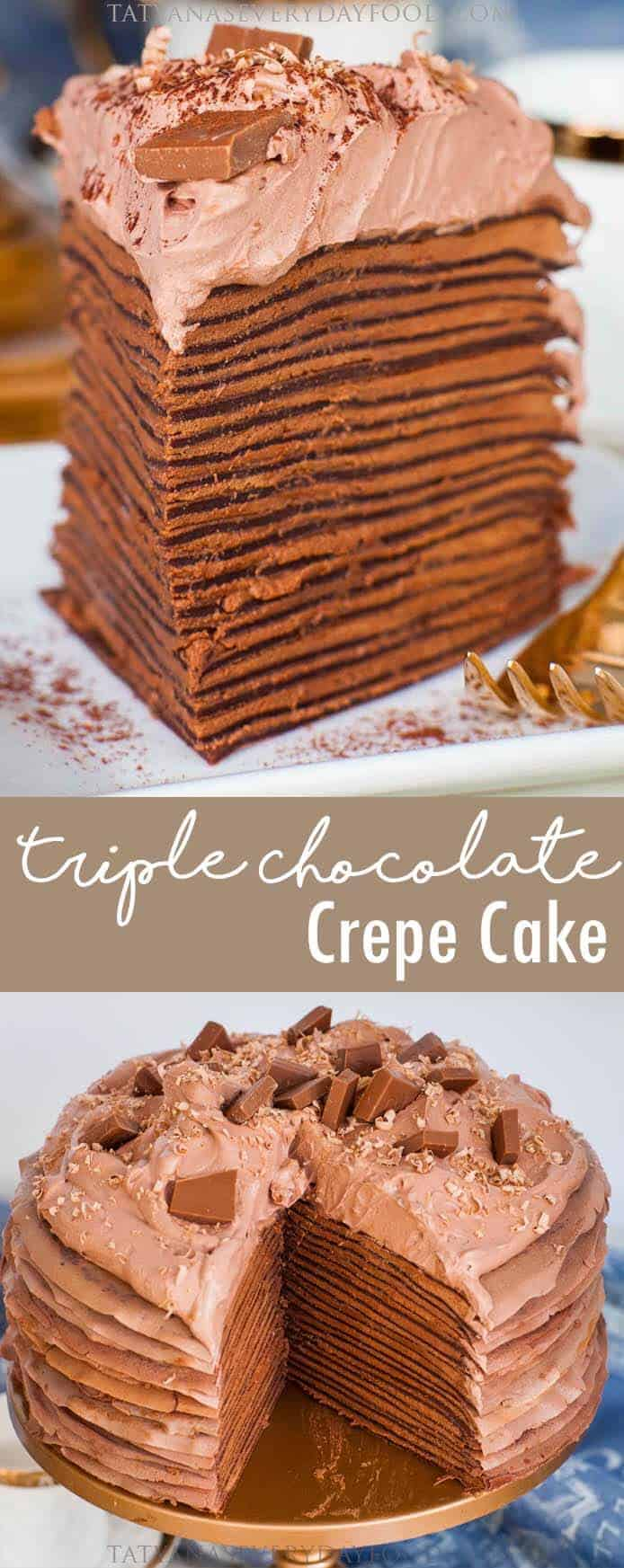 Triple Chocolate Crepe Cake recipe with video