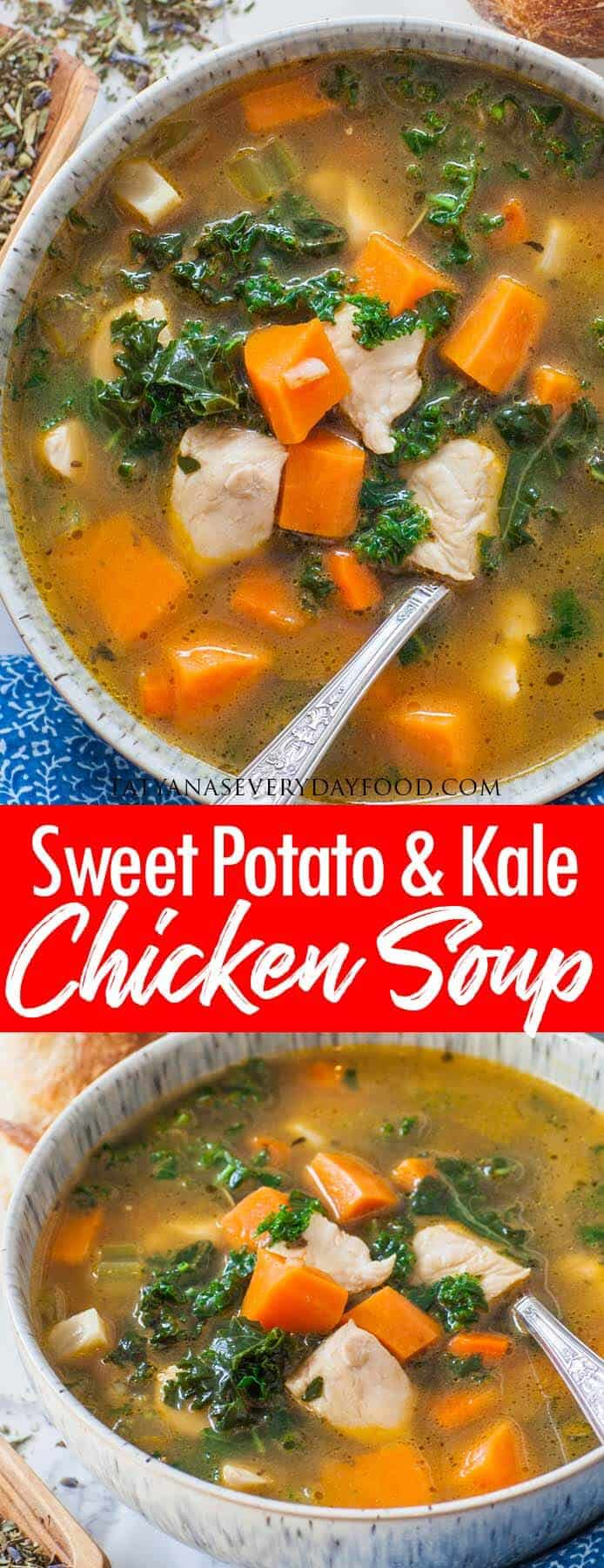 Sweet Potato Kale Chicken Soup video recipe