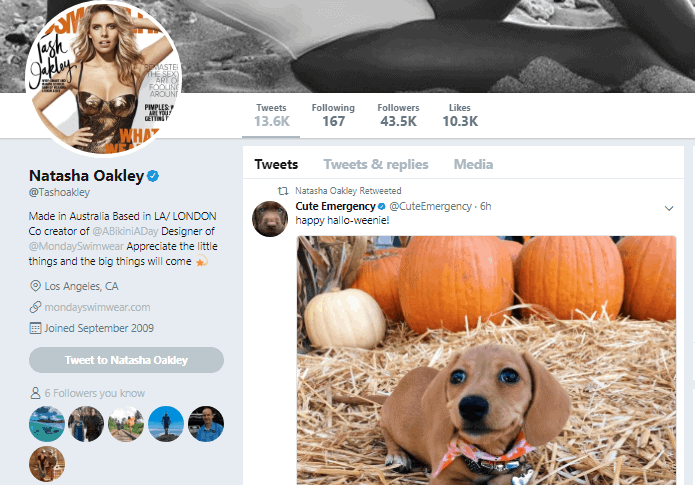 Natasha Oakley Twitter profile - Influencer Marketing Statistics