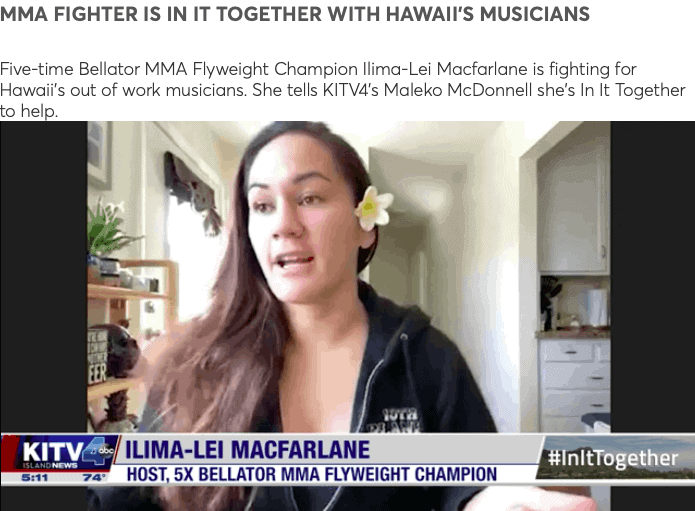 Hawaii MMA News: Bellator MMA Fighter Ilima-Lei MacFarlane supports local Musicians