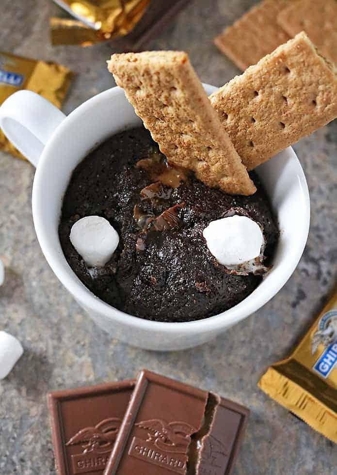 Photo of Caramel Chocolate S'mores Mug Cake