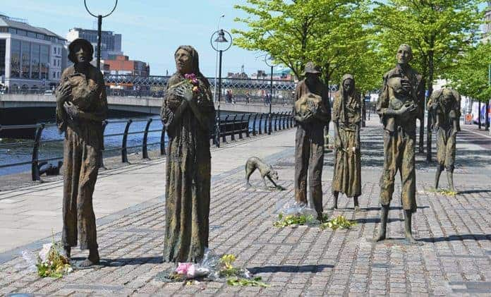 The Haunting Memorial Statues commemorating the Great Hunger on Customs House Quay in Dublin's Docklands - The Irish Place