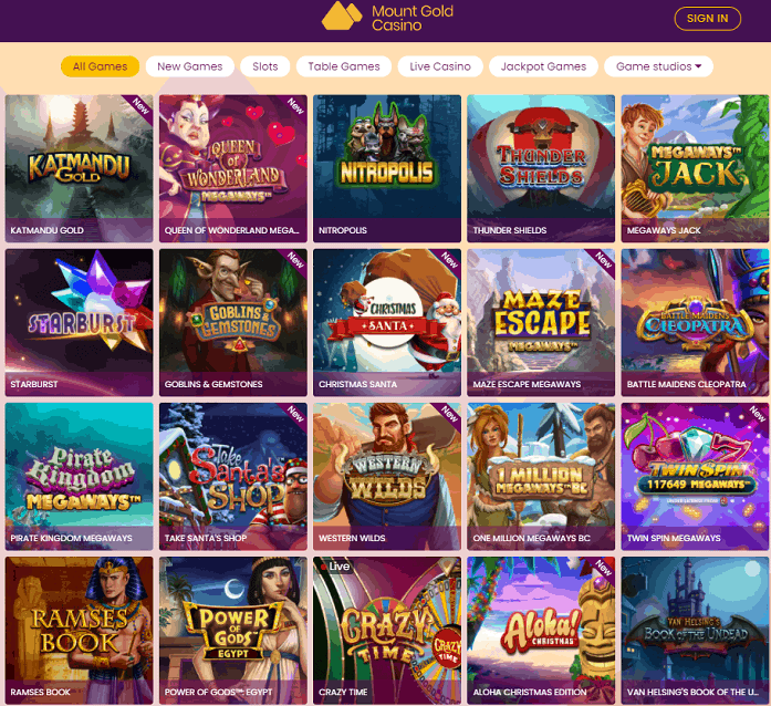 Mount Gold Casino Review Page
