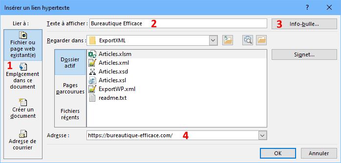 insérer des liens hypertexte dans Excel, vers des pages web ou fichiers locaux