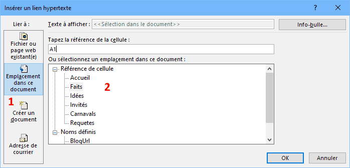 Créer un line hypertexte vers une autre feuille Excel