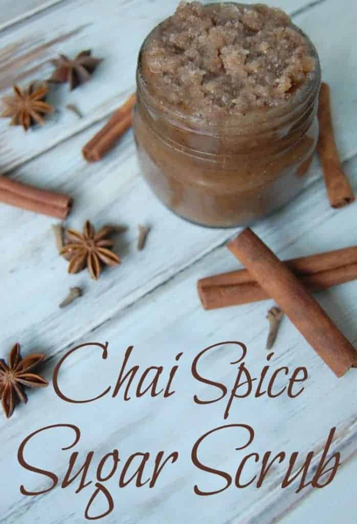 Chai Spice Sugar Scrub - Chai spice is a natural when it comes to sugar scrubs. It's a warm and yummy smelling scent and the spices are actually beneficial to your skin. #chai #chaispice #sugarscrub #fallskincare