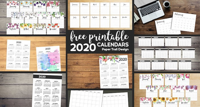 9 different 2020 calendars in separate boxes alongside text overlay- free printable 2020 calendars