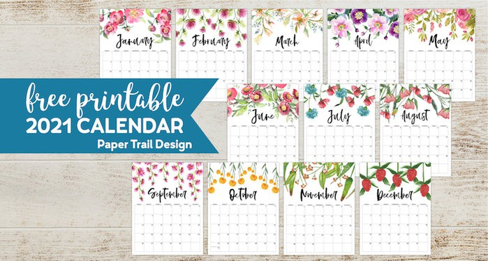 2021 Calendar pages with flower decor from January to February with text overlay- free printable 2021 calendar