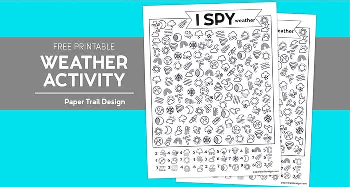 I spy weather themed activity page on a blue and grey background with text overlay- free printable weather activity