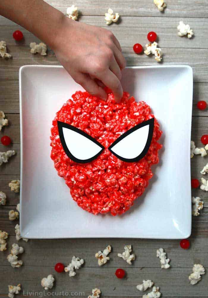 Spiderman Candy Popcorn - Easy Snack recipe for a party.