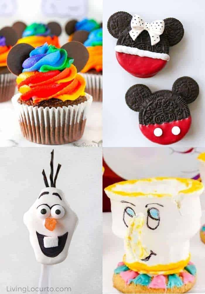 Four pictures showing various Disney desserts