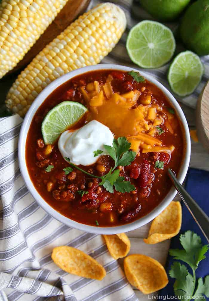 bowl of Healthy Turkey Chili with beans, corn and cheese