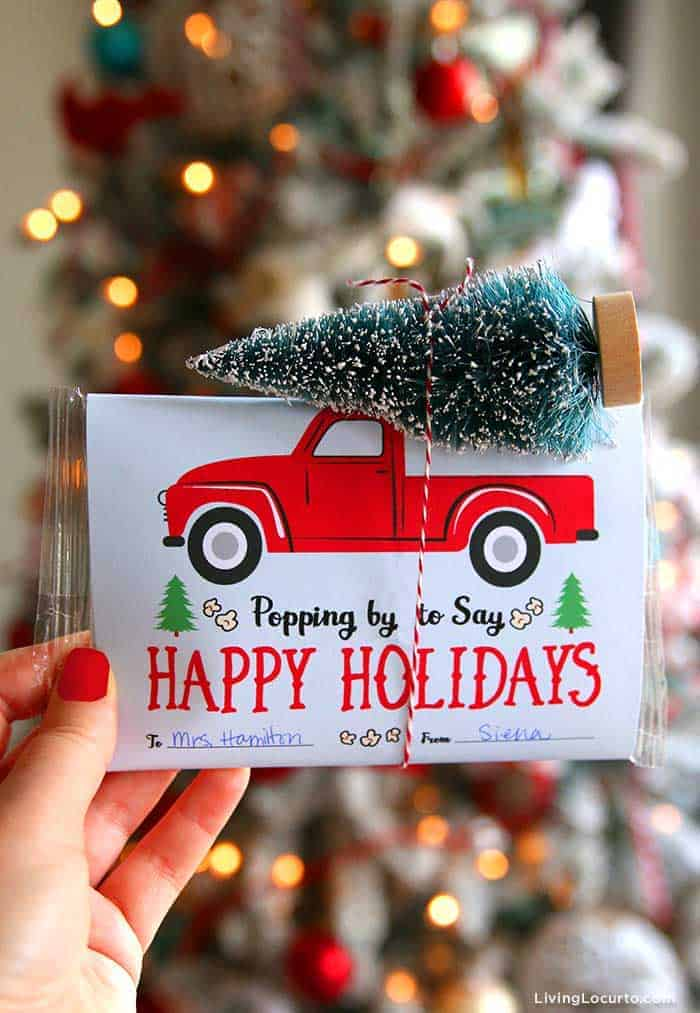 Easy Popcorn Holiday Gift - Red Vintage Truck Free Printable