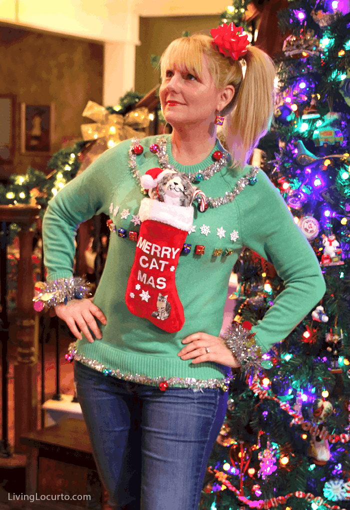 Funny Ugly Christmas Sweater Party Ideas! Creative homemade Crazy Cat Lady sweater by LivingLocurto.com