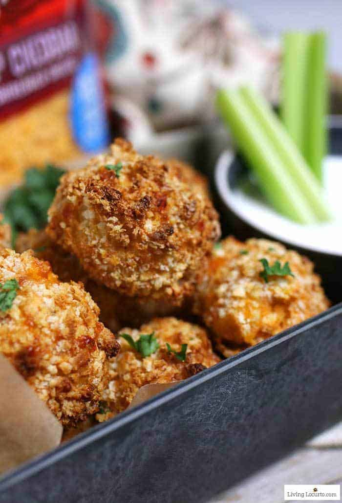 Air Fryer Buffalo Chicken Cheese Balls are a simple game day recipe made with Buffalo chicken, cheddar cheese and blue cheese dipping sauce. A deliciously easy party appetizer! #recipe #airfryer