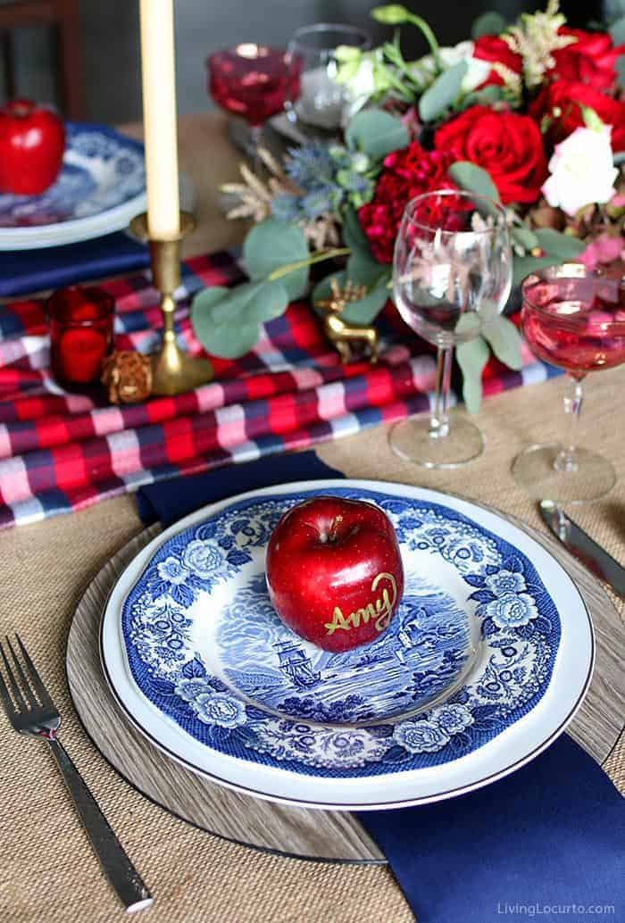 Plaid Christmas Table Decorations | Navy and Red Elegant Blue Plates Holiday Table Setting. LivingLocurto.com