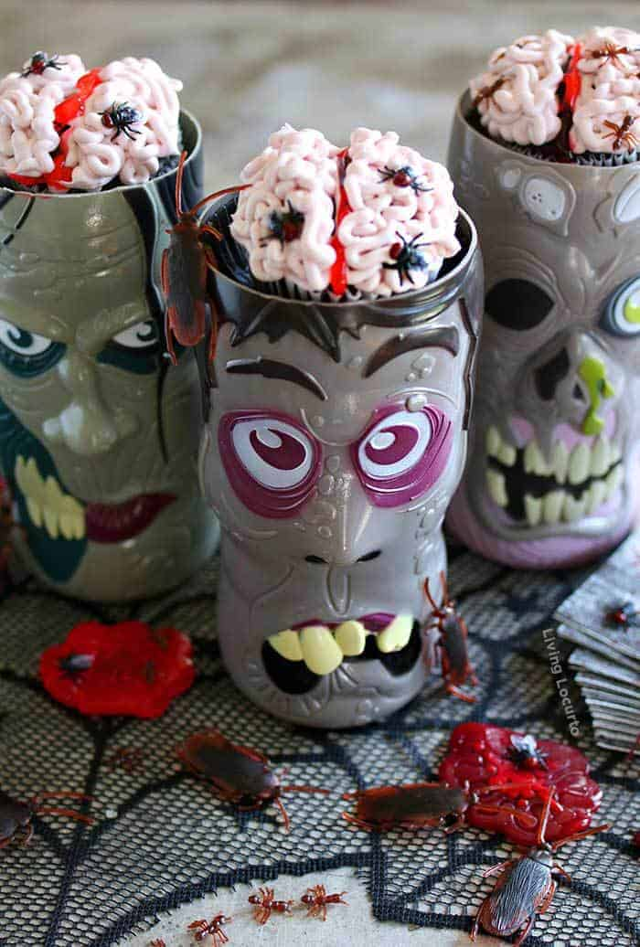 Creepy Brain Cupcakes covered in bugs! Easy Halloween party recipe, just add to zombie cups for a creepy Halloween dessert table.