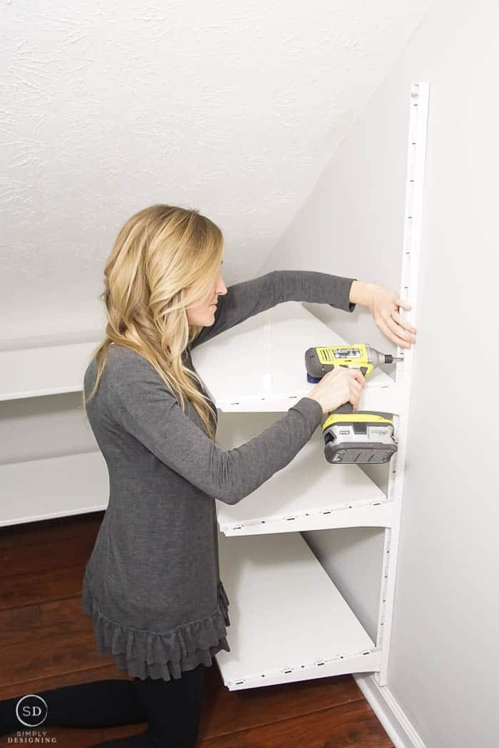 Screw wall mounts into the wall IKEA ALGOT system