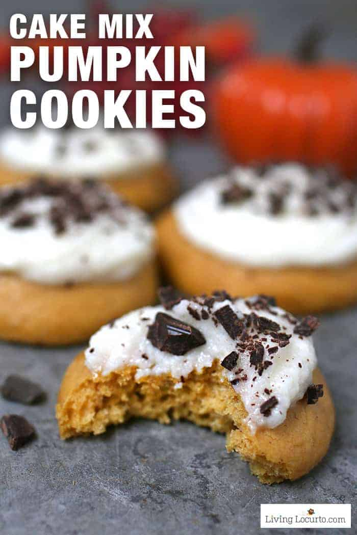 Pumpkin cookies made in minutes! Easy cake mix cookies recipe with buttercream frosting and dark chocolate. Perfect pumpkin spice dessert for fall.