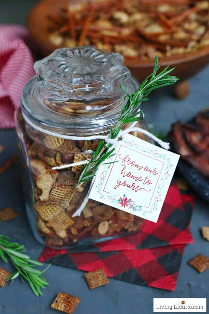Easy Brown Sugar Bacon Chex Mix recipe! With a burst of bacon flavor and a hint of sweetness, you'll want to eat this incredible snack all day. Free printable gift tags for simple DIY holiday gifts in a jar.