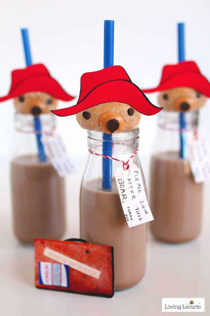 Paddington bear donuts and milk are adorable no bake party treats! A simple DIY fun food recipe idea perfect for a Paddington birthday party.