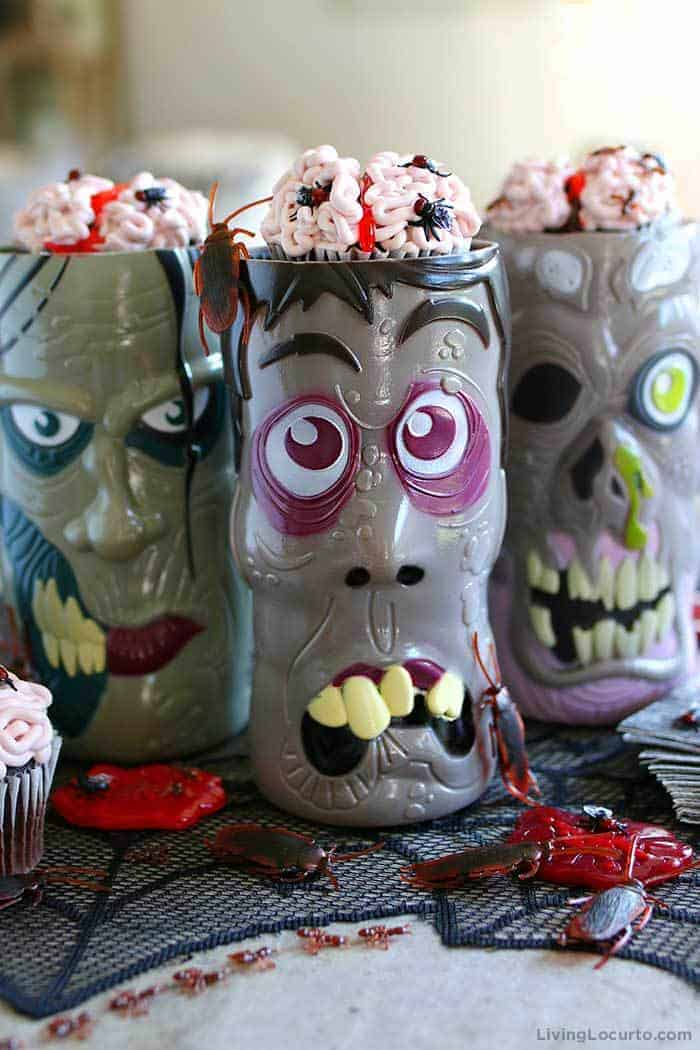 You'll die over these creepy Brain Cupcakes covered in bugs! Easy Halloween party recipe, just add to zombie cups for a creepy Halloween dessert table.