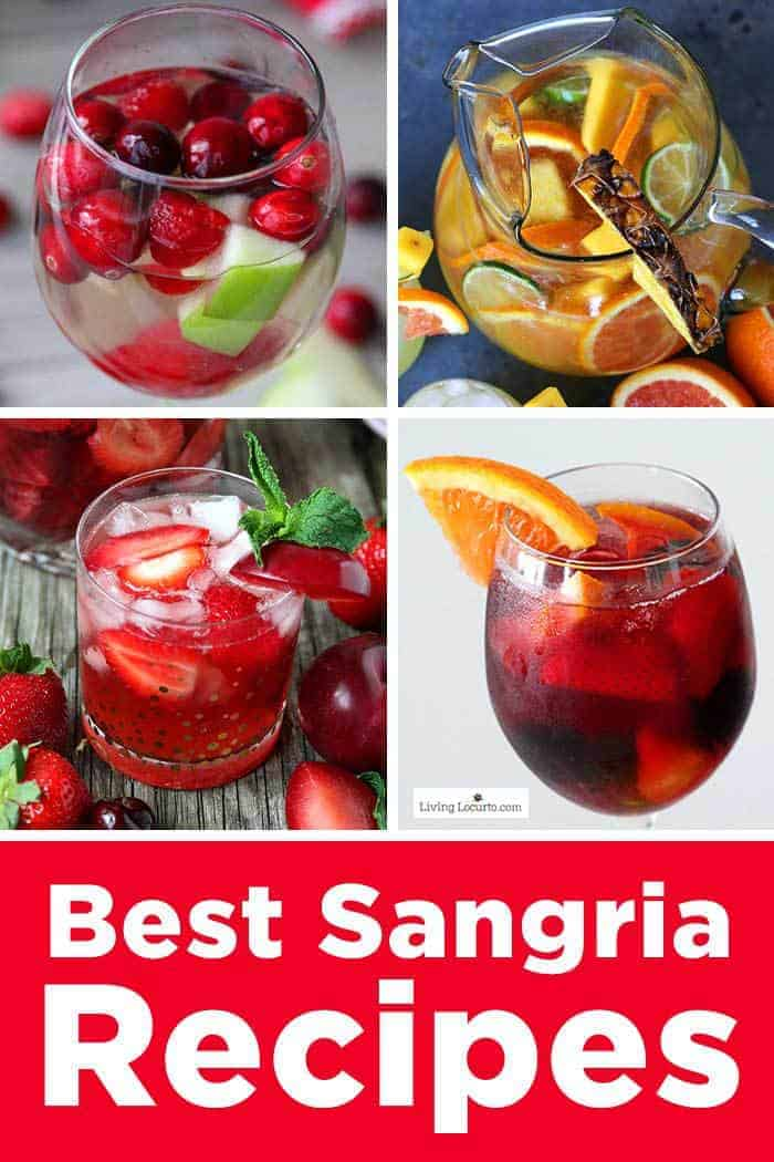 The Best Sangria Recipes for a party! Easy red and white wine cocktail drinks include Pineapple, Peach, Cranberry, Strawberry Rosé and Skinny Sangria. #sangria #drinks