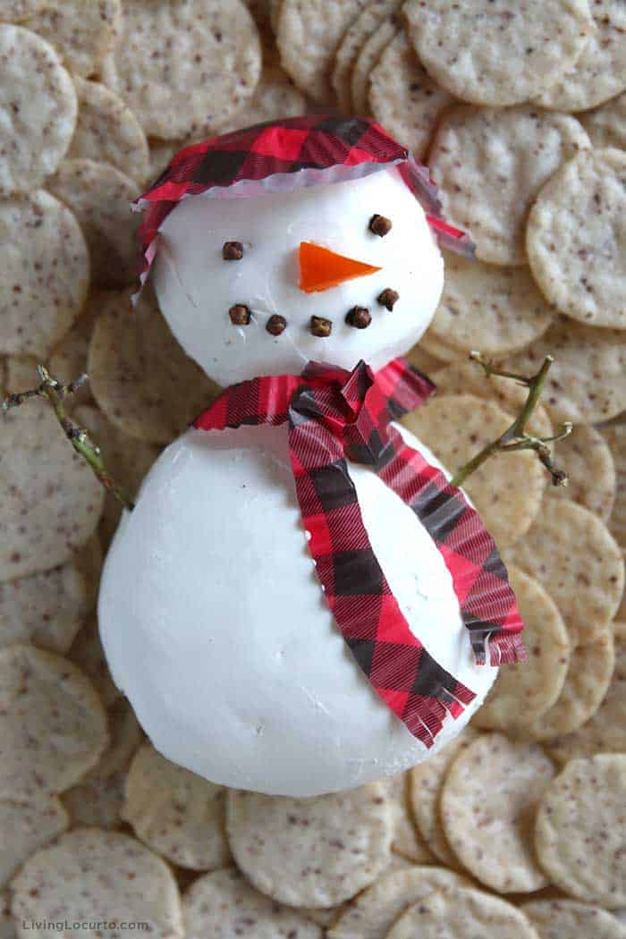 Easy Snowman Cheese Ball Recipe - Christmas Party Appetizer