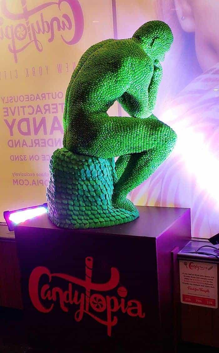 The Thinker statue, made out of candy