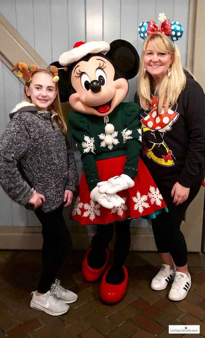 Minnie Mouse at Disneyland during Christmas. Cute Cookie Pops by Disney food blogger Amy Locurto. LivingLocurto.com