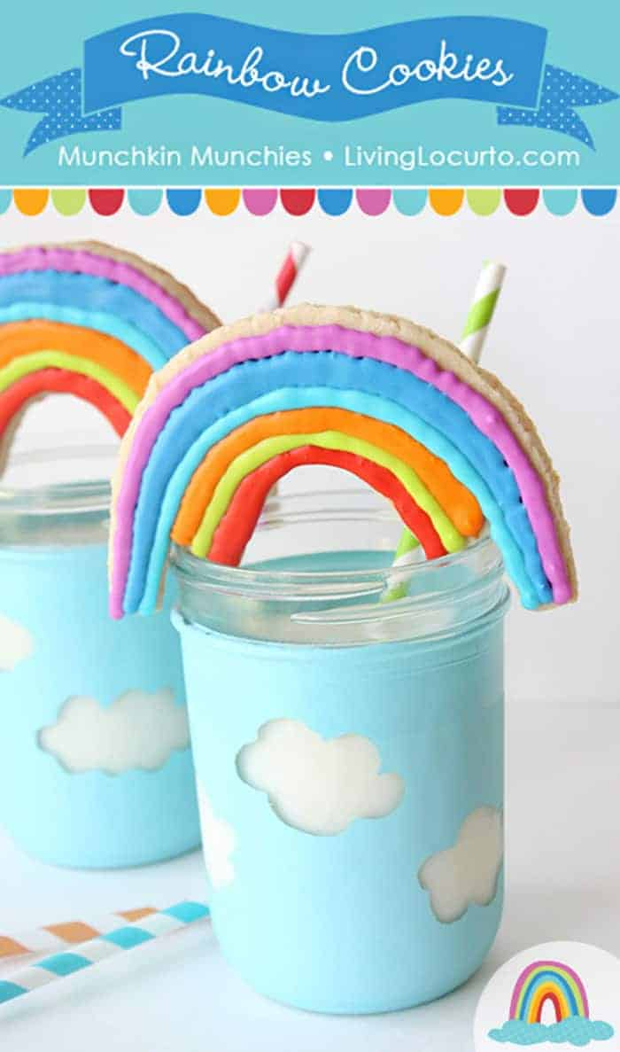 Easy Rainbow Cookies and cloud mason jar craft tutorial. Adorable fun food recipe idea for a rainbow party, birthday or St. Patrick's Day.