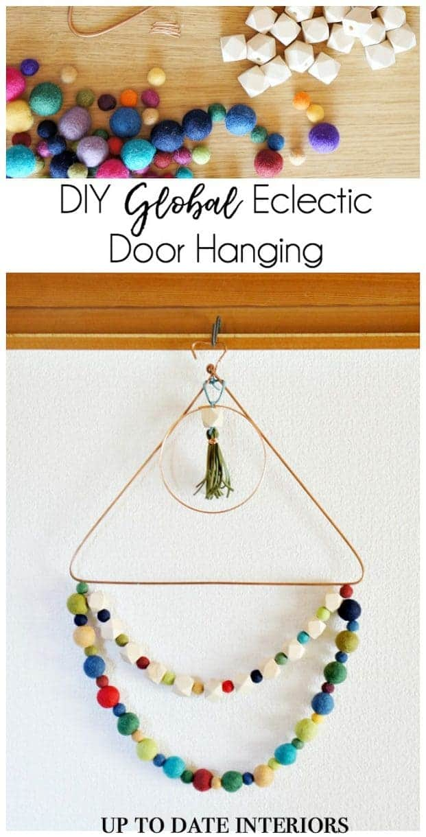 eclectic global door hanging with wool and wood beads on copper triangle. Easy DIy!