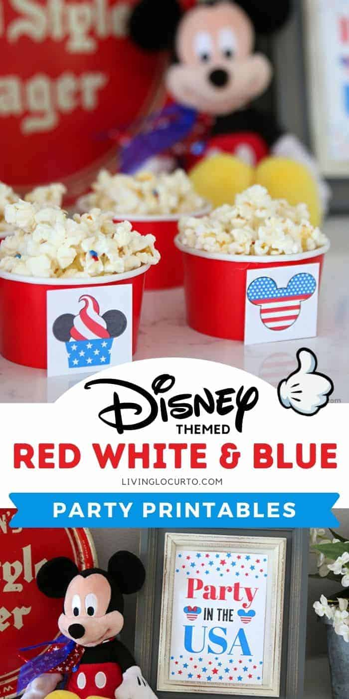 Disney Themed 4th of July Party Printables