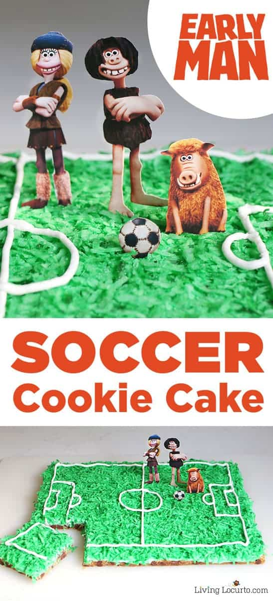 How to make a Soccer Cookie Cake. Early Man movie party ideas. A soccer field is easy to make with this chocolate chip cookie recipe!