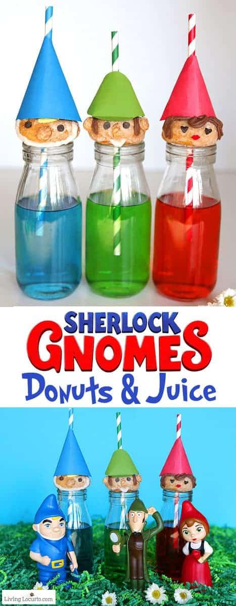 Cute no-bake Gnome Donuts to celebrate SherlockGnomes afun, family friendly movie. Easy recipe idea for a woodland, fairy or gnome themed party. #donuts #gnomes #sherlockgnomes #partyideas #recipe #doughnuts #partyrecipe #birthdayparty #movie #desserts #partyrecipe #garden