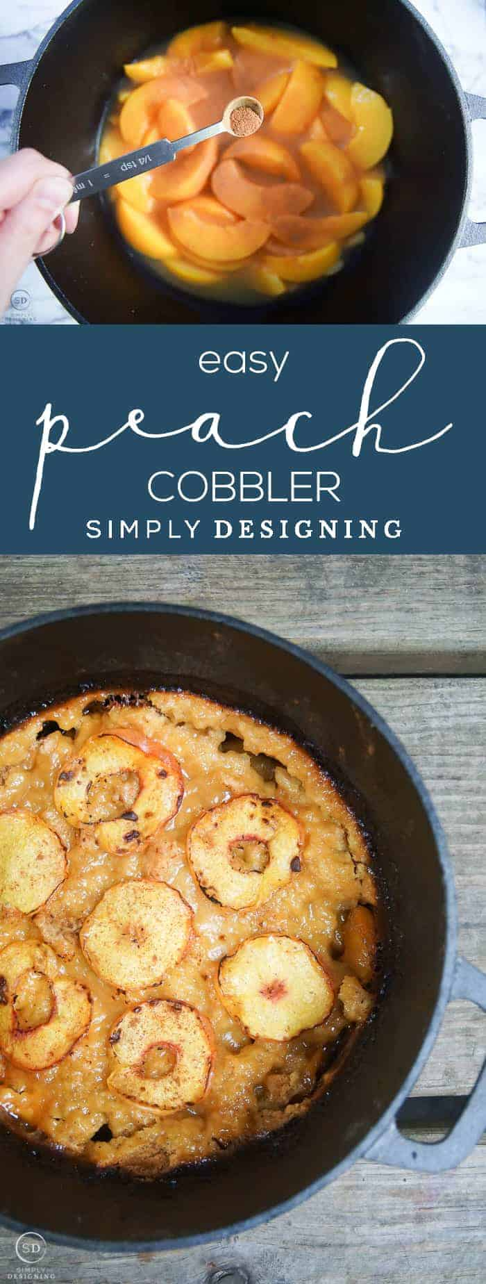 Easy Peach Cobbler - This easy peach cobbler recipe only requires 5 ingredients to make most of which you probably have on hand - It is delicious served warm with ice cream