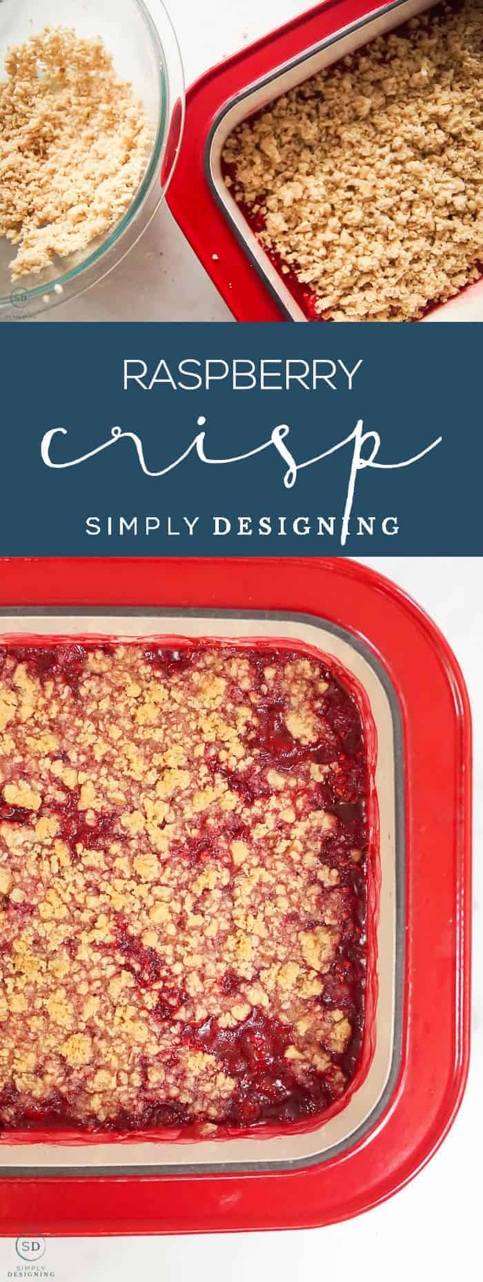 This delicious Raspberry Crisp recipe is the perfect way to enjoy fresh or frozen raspberries in yummy dessert form any time of the year