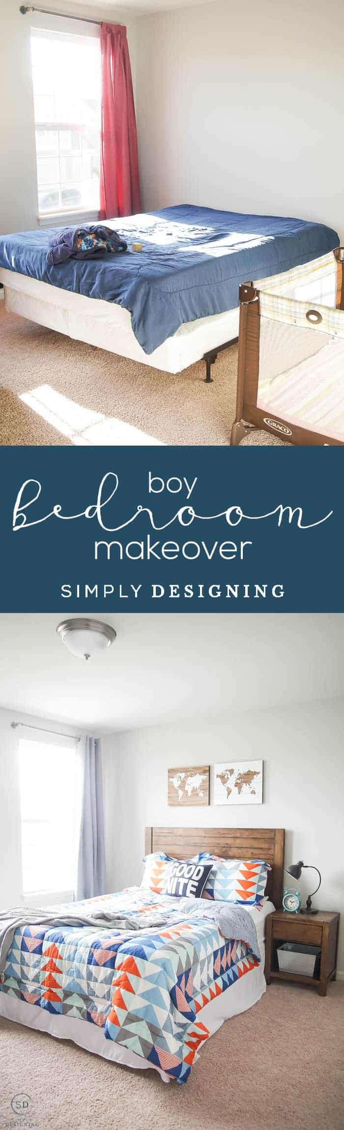 Before & After : Cool Boy Bedroom Idea - Boy Bedroom Makeover - boy bedroom idea on a budget - awesome boy bedroom idea - #ad #BHGLiveBetter #BHGatWalmart @BHGLiveBetter @walmart